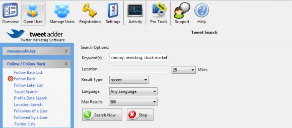 Tweet search by keywords